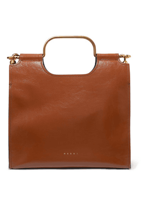 Marni - Marcel Textured Glossed-leather Tote - Brown