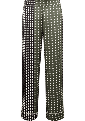 ASCENO - Polka-dot Silk-satin Pajama Pants - Army green