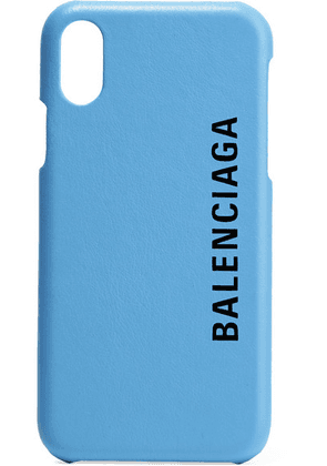 Balenciaga - Printed Textured-leather Iphone X Case - Light blue