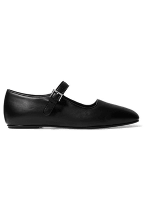 The Row - Ava Leather Mary Jane Ballet Flats - Black