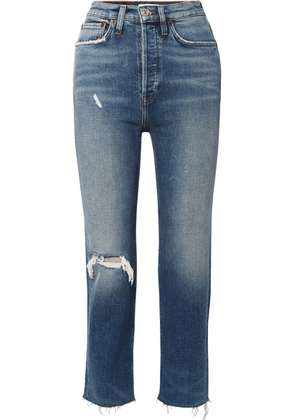 RE/DONE - Ultra High Rise Stove Pipe Comfort Stretch Cropped Distressed Straight-leg Jeans - Mid denim