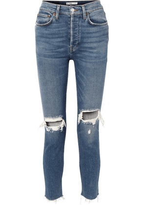 RE/DONE - Originals High-rise Ankle Crop Distressed Skinny Jeans - Mid denim