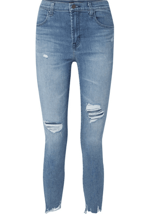 J Brand - Alana Cropped Distressed High-rise Skinny Jeans - Mid denim