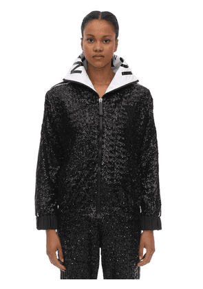 Midnight Embellished Zip-up Techno Top