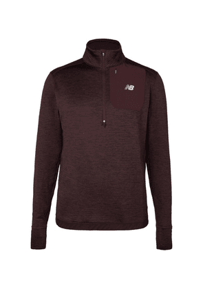 New Balance - Mélange Stretch-jersey Half-zip Sweatshirt - Burgundy