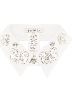 Vivetta butterfly embellished collar - White
