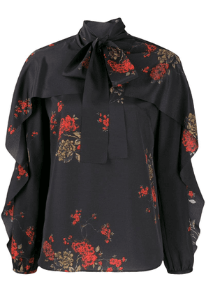 Red Valentino RED Valentino frilled floral blouse - Black