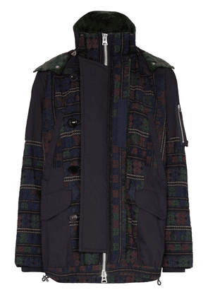 Sacai tapestry-style panel hooded jacket - Blue
