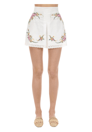 Print & Embroidery Linen Shorts