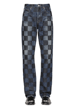 Crafted Checkered Cotton Denim Jeans