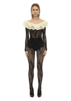 Stretch Lace Jumpsuit W/ Ruffled Collar