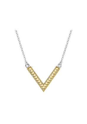 V Reversible Necklace - Gold & Silver
