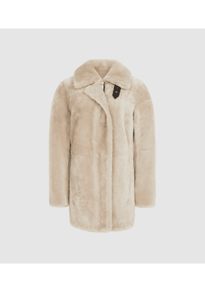 Reiss Izzie - Mid Length Shearling Coat in Neutral, Womens, Size XS