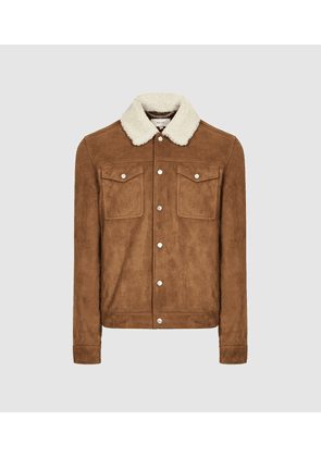 Reiss Miles - Suede Trucker Jacket With Shearling Collar in Tobacco, Mens, Size XS