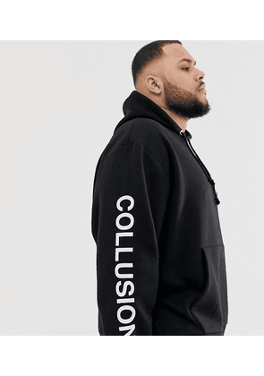 COLLUSION Plus logo hoodie in black