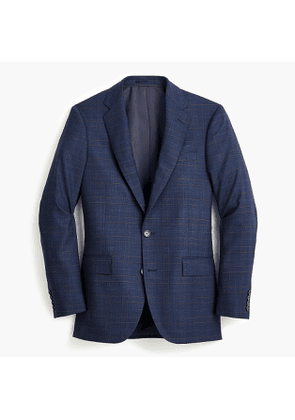 Ludlow Essential Slim-fit suit jacket in blue glen plaid stretch four-season wool