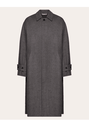 Valentino Uomo Coat In Double-layer Wool Man Grey  44