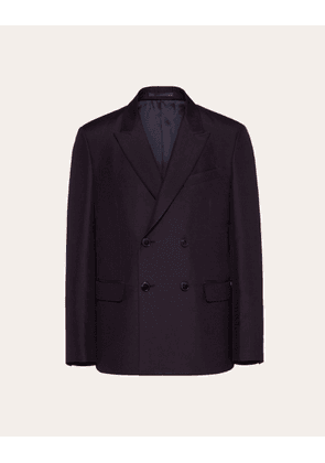 Valentino Uomo Double-breasted Jacket In Cotton And Silk Man Blue  46