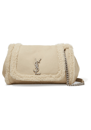 SAINT LAURENT - Nolita Medium Textured-leather And Shearling Shoulder Bag - Cream