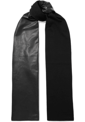 Salvatore Ferragamo - Leather And Wool Scarf - Black