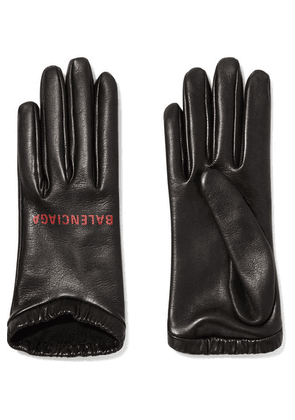 Balenciaga - Printed Leather Gloves - Black