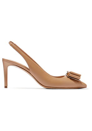 Salvatore Ferragamo - Zahir Bow-embellished Textured-leather Slingback Pumps - Tan