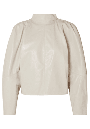 Isabel Marant - Caby Gathered Leather Top - Off-white