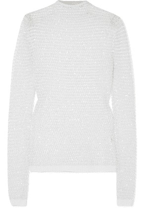 Balmain - Sequin-embellished Open-knit Top - White