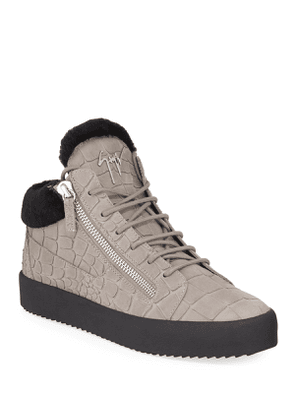 Men's Crocodile-Print Shearling-Lined Leather Mid-Top Sneakers