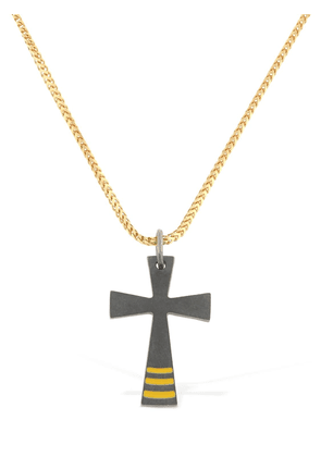 Cross Chain Enameled Necklace