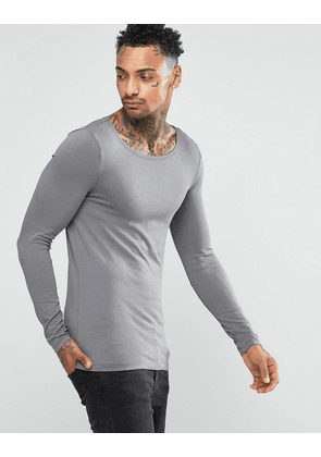 ASOS Extreme Muscle Long Sleeve T-Shirt With Boat Neck In Grey