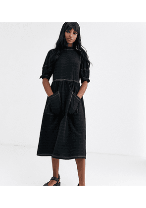 ASOS DESIGN Tall textured midi smock dress with tie sleeves