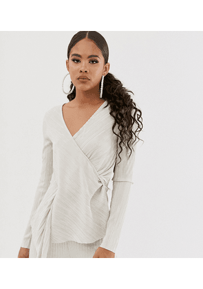 ASOS DESIGN Tall long sleeve plisse top with drape twist front in dark ivory