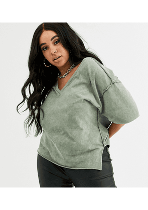 ASOS DESIGN Curve t-shirt with raw seams and v-neck in washed khaki