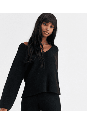 ASOS DESIGN Tall fluffy v neck ribbed jumper with balloon sleeve in recycled blend
