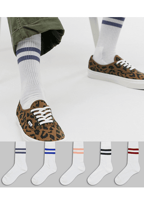 ASOS DESIGN 5 pack sports socks with tonal stripes save