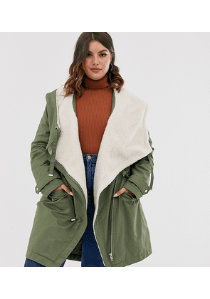 ASOS DESIGN Curve waterfall parka with borg lining in khaki