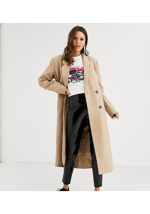 ASOS DESIGN Tall double breasted longline coat in camel