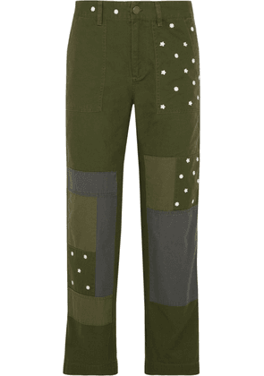 J.crew Patchwork Embroidered Cotton Straight-leg Pants Woman Army green Size 4