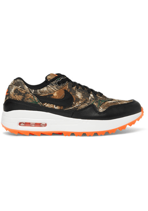 Nike Golf - Air Max 1 Golf Realtree Camouflage Faux Leather-trimmed Mesh Sneakers - Black
