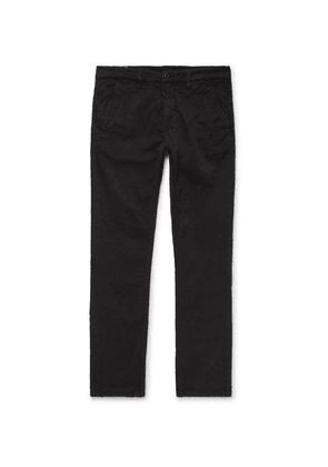 Nudie Jeans - Slim Adam Garment-dyed Stretch Organic Cotton-twill Trousers - Black