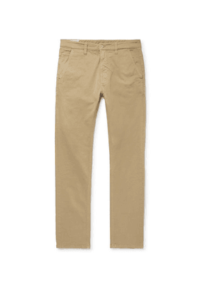 Nudie Jeans - Slim Adam Garment-dyed Stretch-cotton Twill Trousers - Beige
