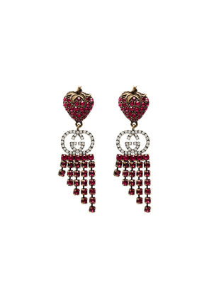 Gucci strawberry crystal drop earrings - Red