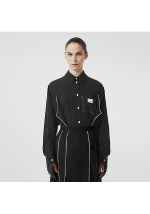 Burberry Piping Detail Silk Oversized Shirt and Tie Twinset, Size: 02, Black