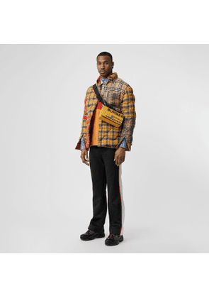 Burberry Contrast Check Cotton Flannel Puffer Overshirt, Yellow