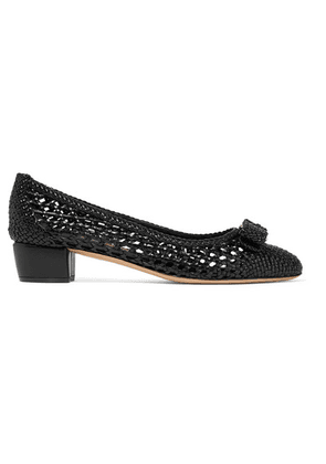 Salvatore Ferragamo - Vara Bow-embellished Woven Leather Pumps - Black