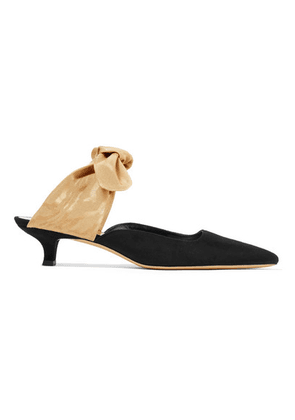 The Row - Coco Suede And Moire Mules - Black