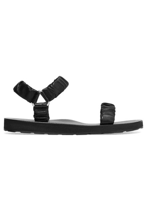 The Row - Egon Gathered Leather Sandals - Black