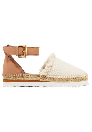See By Chloé - Leather And Canvas Platform Espadrilles - Ivory