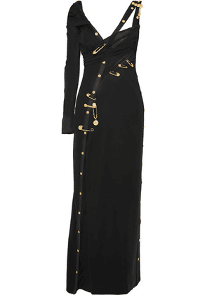 Versace - Embellished Cutout Crepe, Silk-chiffon And Tulle Gown - Black